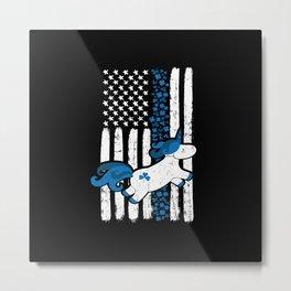 Thin Blue Line St Patricks Unicorn Police Metal Print