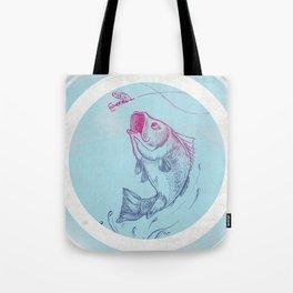 Bass jumping In Blue Circle3 Tote Bag