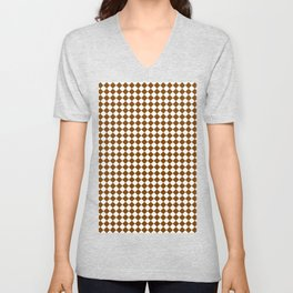 Small Diamonds - White and Chocolate Brown Unisex V-Neck