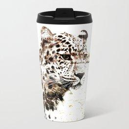 Leopard In Wilderness Sepia Travel Mug