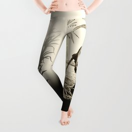 Sugar Cane Worker Cutting Canes Pencil Hand Drawing Vintage Style  Leggings