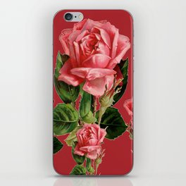 ROSE MADDER ANTIQUE VINTAGE ART PINK ROSES iPhone Skin