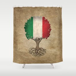 Vintage Tree of Life with Flag of Italy Shower Curtain