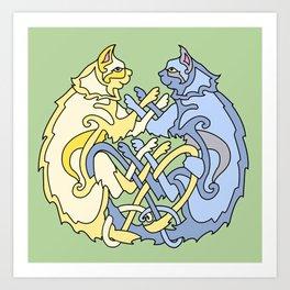 Celtic Cats Art Print