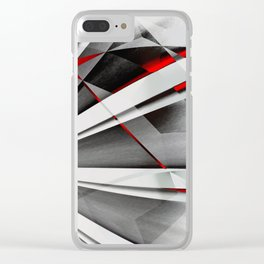 Red Gray Abstractum Clear iPhone Case