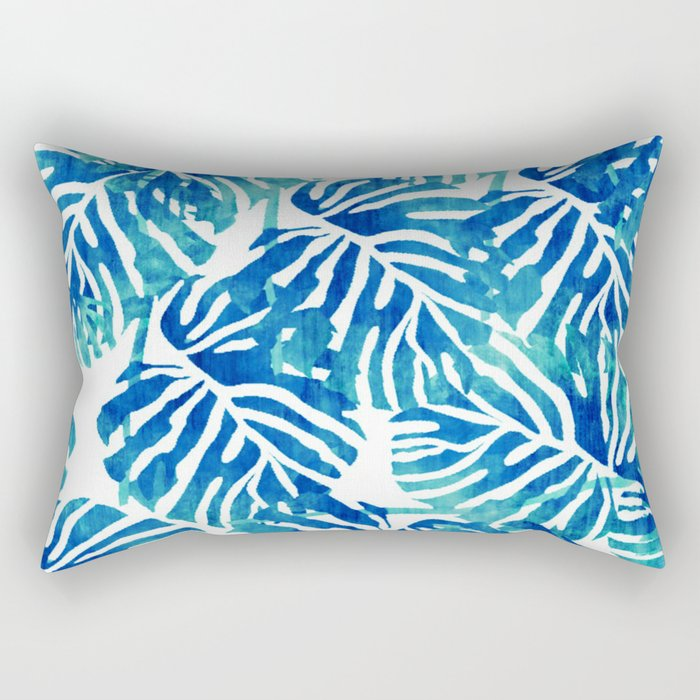 Tropical Leaves – Blue Abstract Rectangular Pillow
