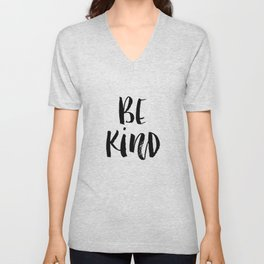 Be Kind watercolor modern black and white minimalist typography home room wall decor Unisex V-Neck