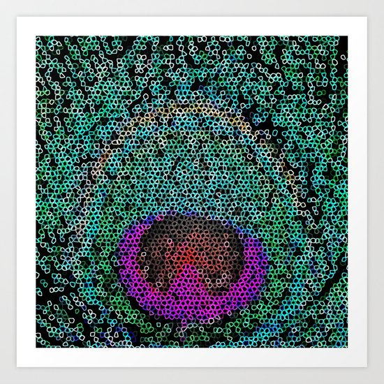 Bright pink teal girly abstract peacock feather  Art Print
