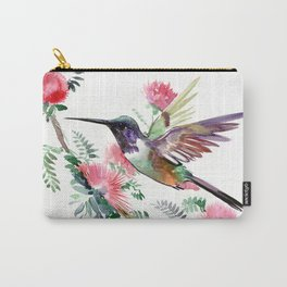 Flying Hummingbird and Red Flowers Carry-All Pouch