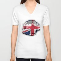 vw bus V-neck T-shirts featuring VW UK Flag by Alice Gosling