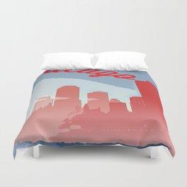 Chicago Skyline Travel Poster Duvet Cover