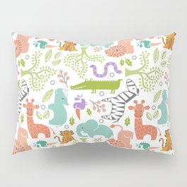 Zoo Pattern in Soft Colors Pillow Sham