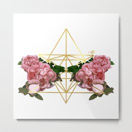 Geometric Peonies Metal Print