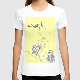 Two Tailed Duck and Jellyfish Baby Yellow T-shirt