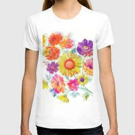 Colorful Watercolor Flowers T-shirt
