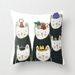 Six little friends Throw Pillow