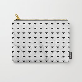 White Marble Black Abstract Triangle Pattern Carry-All Pouch