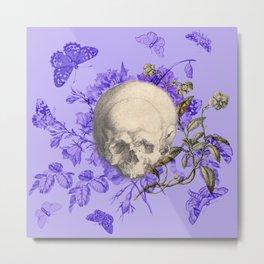 Purple Halloween Floral Skull Metal Print