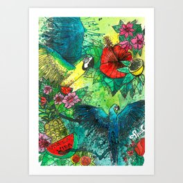 Macaw with watermelom, Viva La Vida Art Print