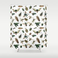 insects Shower Curtains featuring Insects by Noughton