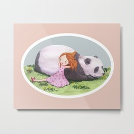 Giant Panda snuggles in the sunshine Metal Print