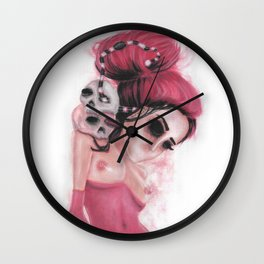 Red Coloured Dreams Wall Clock