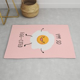 I'm So Eggcited, Funny, Cute, Egg, Quote Rug