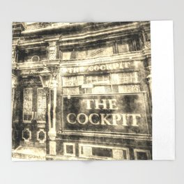 The Cockpit Pub London Vintage Throw Blanket