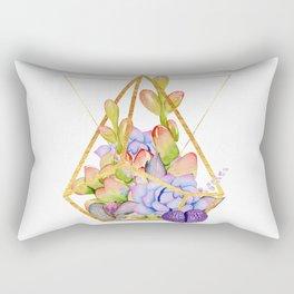 Succulent Geometry gold wire geometric frames Rectangular Pillow