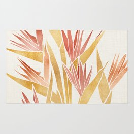 Deco Flowers ~ Metallic Birds of Paradise Rug
