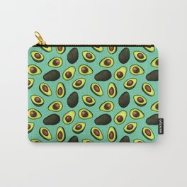 Dancing Millennial Avocados on Aqua, Ditsy print Carry-All Pouch