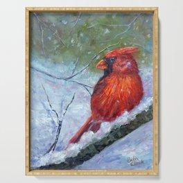 Winter Cardinal Serving Tray