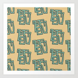Masks - Repeating Geometric Pattern Art Print