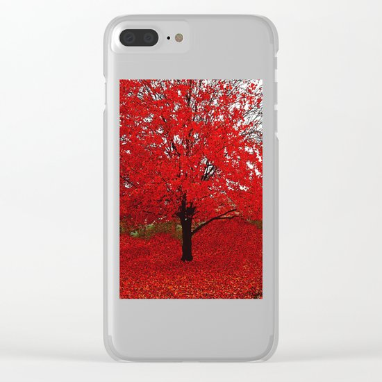 TREES RED Clear iPhone Case
