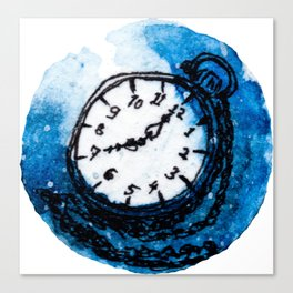 Whimsy antique watch in watercolour Canvas Print