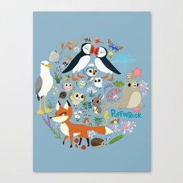 Puffin Friends - Blue Canvas Print