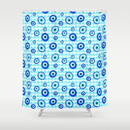 Evil Eye Symbol Blue White Pattern Shower Curtain