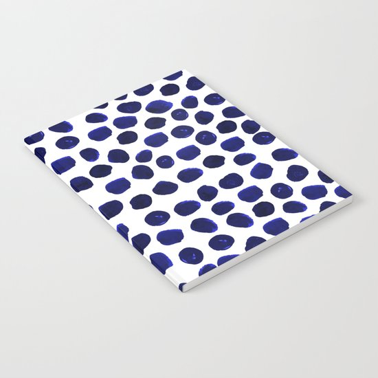 Indigo Spots dots minimal modern abstract painting boho dorm college decor monochromatic nautical Notebook