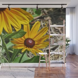 Black-eyed Susans and a Busy Bee Wall Mural