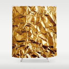 Crumpled Golden Foil Shower Curtain
