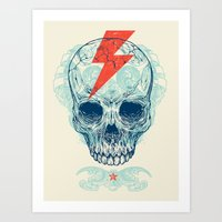 lightning Art Prints featuring Skull Bolt by Rachel Caldwell