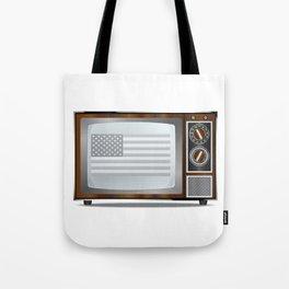 Patriotic Black And White Television Tote Bag