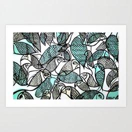 BIRDS IN THE PARK Art Print