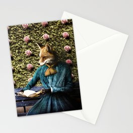 Fiona Fox reading in the garden Stationery Cards