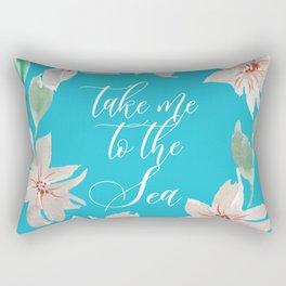 Take Me to the Sea - Turquoise Rectangular Pillow