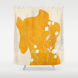 minimal body floral leaves art Shower Curtain