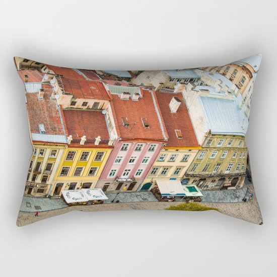the rooftops of the city Rectangular Pillow