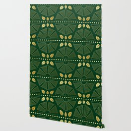 Emerald Art Deco Fan Wallpaper