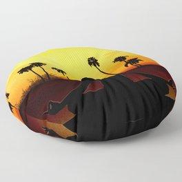 Yoga at sunrise Floor Pillow