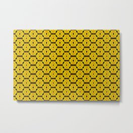Buttons and Bows - Yellow Metal Print